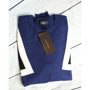 Zara Man Blue White, and Black Crewneck Sweater